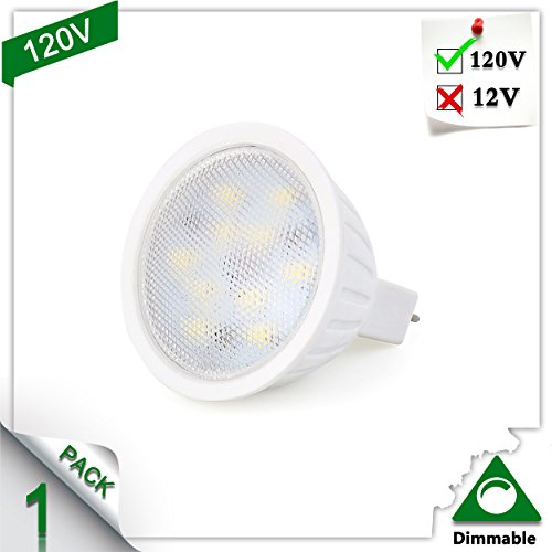 (MR16 LED Bulbs, 120V 5W 500lm, 50W Halogen Bulbs Equivalent, 2700K Warm White, 120° Beam Angle Dimmable MR16 GU5.3 LED Light Bulb, Perfect Standard Size, Recessed Lighting, Track Lighting Pack of 1)