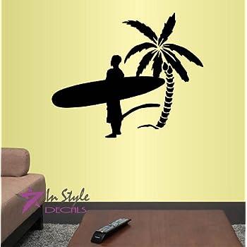 Amazon.com: Wall Stickers Vinyl Decal Surf Surfing Girl In Bikini ...