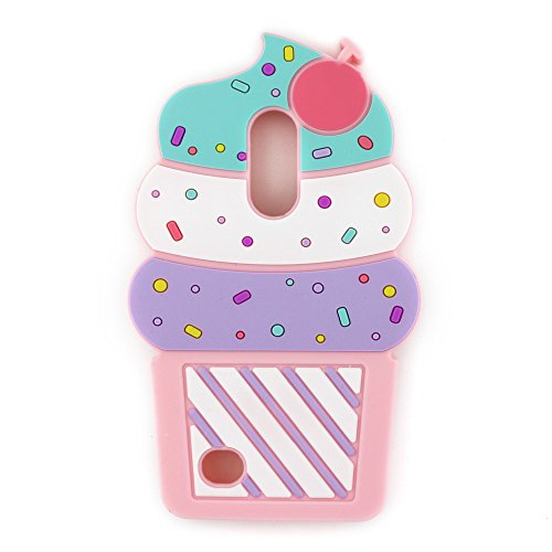 UFOTSAM LG Aristo 2, Phoenix 3, Fortune 2, K8 2017 2018, Tribute Dynasty, Zone 4 Case, 3D Cartoon Cute Cupcakes Ice Cream Shaped Soft Silicone Case Cover for LG Rebel 2 3, Risio 2 3, Fortune 2 (Pink)