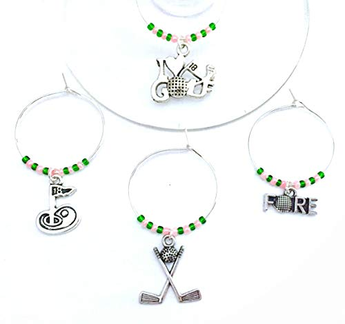 Ladies Golf wine charms, Perfect wine gift for Female Golf Enthusiast in your life. Includes I Love Golf, Fore, 18th Hole, and Clubs with Golf ball charms. Set of 4. GREEN AND PINK BEADS. (Best Gift For Wine Enthusiast)