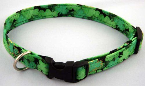 Country Brook Design Shamrocks Handmade Designer Dog Collar-M