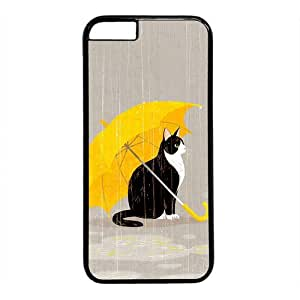 """Cat With Yellow Umbrella Theme Case for IPhone 6(4.7"""") PC Material Black by mcsharks"""