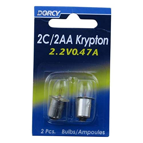 2aa Krypton Bulb - Dorcy 2C/2AA-2.2-Volt, 0.47A Bayonet Base Krypton Replacement Bulb, 2-Pack (41-1662)