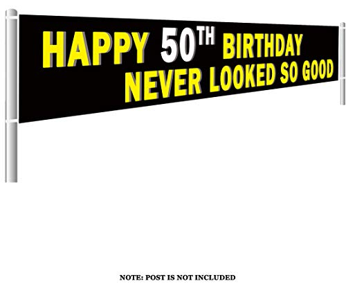 Colormoon Large 50th Happy Birthday Banner, 50th Birthday Party Supplies Decorations, Birthday Anniversary Sign (9.8 x 1.5 feet)