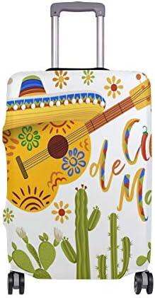(ソレソレ)スーツケースカバー 防水 伸縮素材 キャリーカバー ラゲッジカバー ハロウィン ギーター サボテン 民族風 可愛い おしゃれ 防塵 旅行 出張 便利 S M L XLサイズ