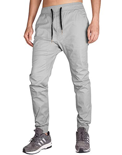 ITALY MORN Men's Chino Jogger Pant (XS, Light Grey)