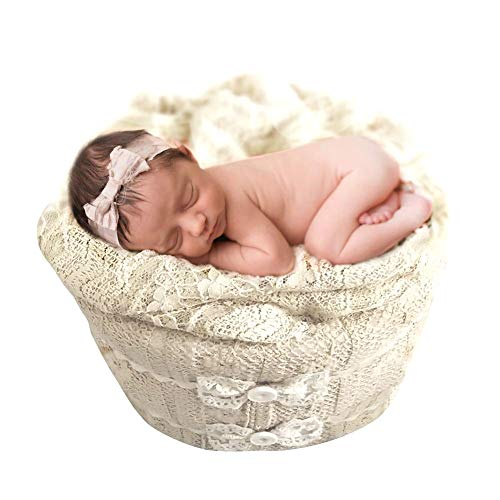 MOCOHANA Baby Photography Props Tub Newborn Photoshoot Props Bucket Monthly Props for Baby, Bowknot -