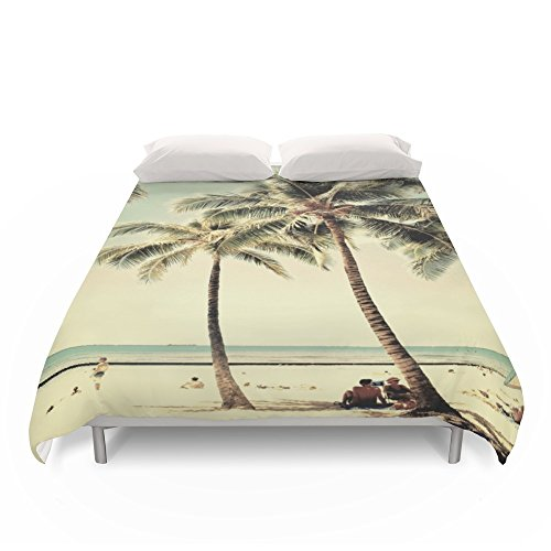 Society6 Retro Vintage Palm Tree With Hawaii Summer Sea Beach Duvet Covers King: 104'' x 88'' by Society6