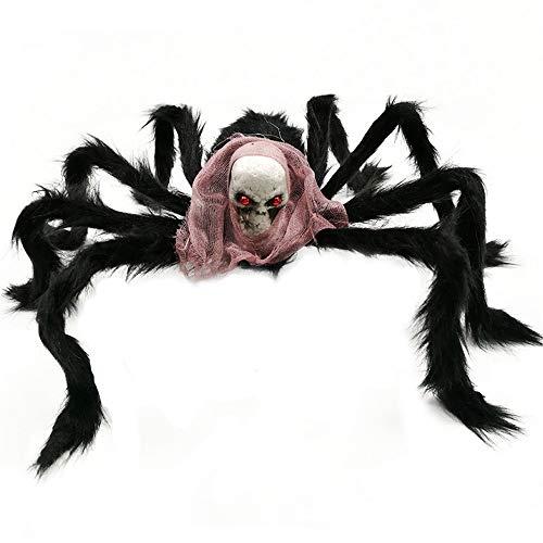 (Loneflash Halloween Decoration Spider,Simulation Ghost Head Plush Spider Home Garden Decor)
