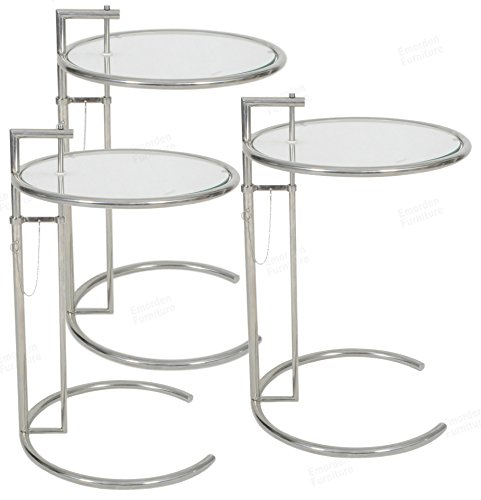 leen Gray End Table(3 Set). Adjustable Height Table, Safe Tempered Circle Leveled Glass Top, Stainless Steel Tubular Frame for Firm & Durability, Metal Side Table. Easy to Move. ()