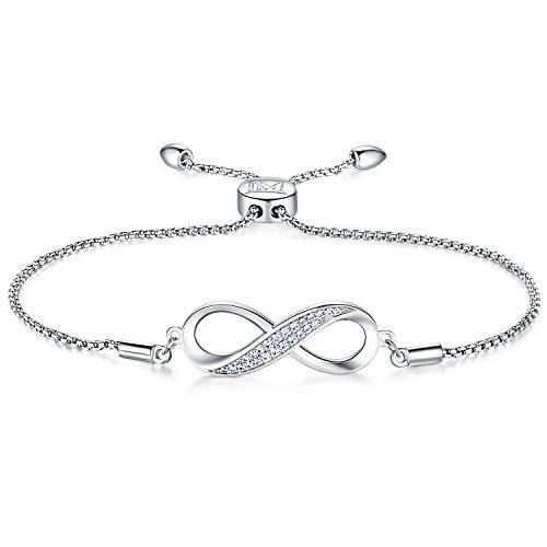 NINAMAID Infinity Bracelet for Women Girl Endless Love Symbol Charm Adjustable Bolo Bracelet Gift for Friendship/Sisters