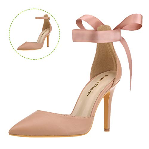 Women's Heel Pumps Stilettos Pointed Toe High Heel Dress Shoes with Ankle Strap Ribbon Nude Size 5 ()