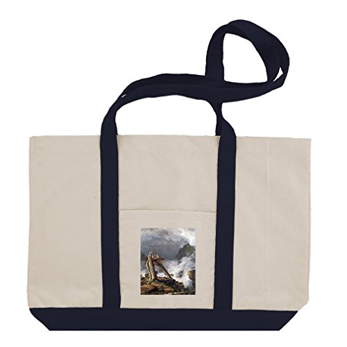 Storm In The Mountains (Church) Cotton Canvas Boat Tote Bag Tote - Navy by Style in Print