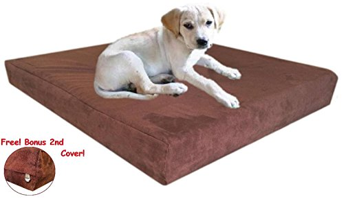 47''x29''x4'' Chocolate Brown Anti Slip Washable Microfiber Suede Waterproof Therapeutic Orthopedic 100% Solid True Dense Memory Foam Pad Pet Dog Bed Crate FREE 2nd External Cover