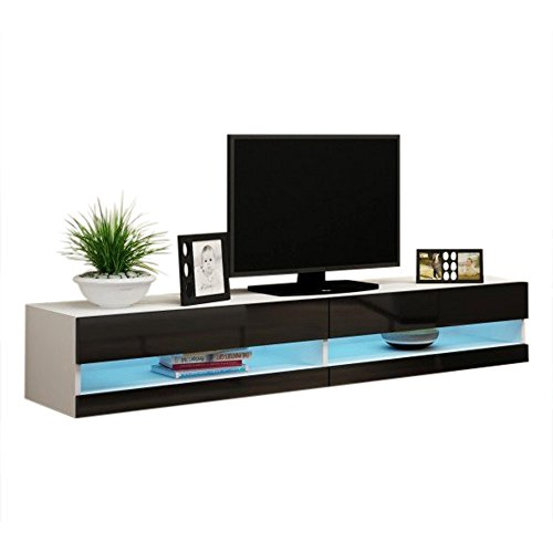 Gloss High Black Tv - Concept Muebles 80 Inch Seattle High Gloss LED TV Stand - Black & White