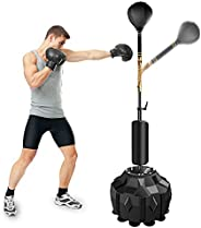 Wodesid Free Standing Reflex Boxing Ball with Punching Bag Spinning Bar, Height Adjustable Punching Ball Stand