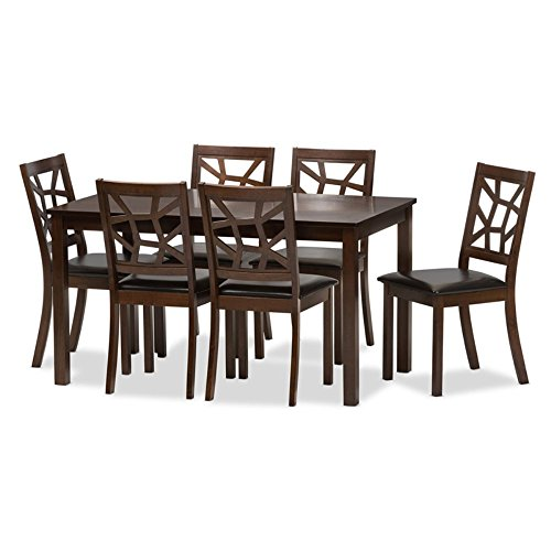Leather 7 Piece Set (Baxton Studio 7 Piece Mozaika Wood & Leather Contemporary Dining)