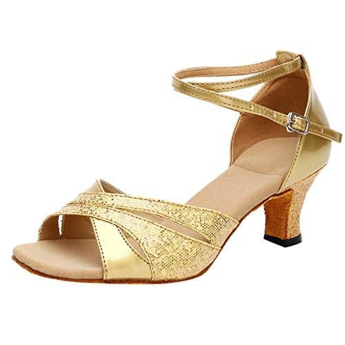 - One promise Women's Rumba Waltz Prom Ballroom Latin Salsa Dance Shoes Square Heels Sandals Gold