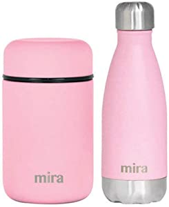 MIRA Child Lunch Bundle with 13.5oz Insulated Food Jar (Pink) and 12oz Insulated Cola Shaped Bottle (Pink)