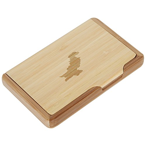 Pakistan Bamboo Business Card Holder with Laser Engraved Design - Business Card Keeper - Holds Up to 10 Cards - Lightweight Calling Card Case