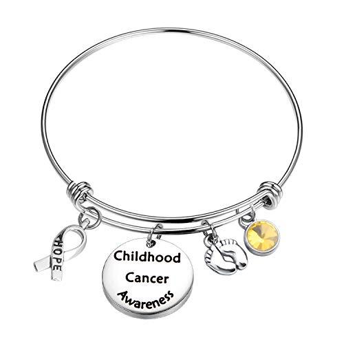 MYOSPARK Childhood Cancer Awareness Bracelet Hope Ribbon Charm Cancer Survivor Cancer Awareness Gift (Childhood Cancer Awareness -