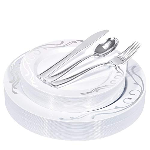TRISOO 125-Piece Elegant Plastic Plates & Cutlery Set Service for 25 Disposable Place Setting Includes: 25 Dinner Plates, 25 Salad Plates, 25 Forks, 25 Knives, 25 Spoons (Silver Scroll)