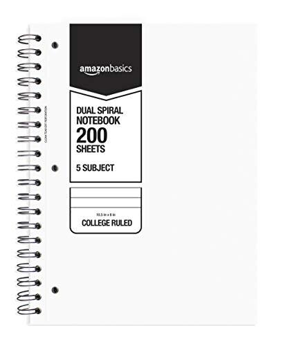 AmazonBasics College Ruled Wirebound 5-Subject Notebook, 200-Sheet, 10.5