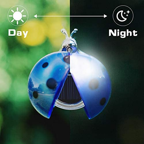 Solar Garden Lights Outdoor, Solar Light LED Garden Decor Statues, Yard Decorations Ladybug Lights for Path, Yard, Lawn, Patio [Set of 5]