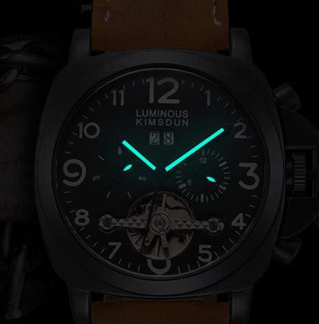 Men's Tourbillon Automatic Movement Watch Leather Strap Dress Mechanical Wristwatch (Brown)