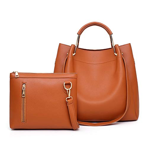 Borsa Cerniera Sets Brown Donna Tracolla Borsa LUCKYCCDD Colore A A Brown Pezzi Moda Durevole Solido Mano 2 TP07Rx