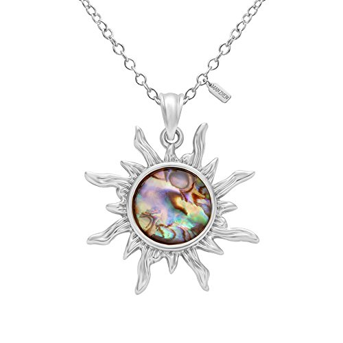 MANZHEN Gold Tone Fashion Sun Sunflower Pendant Natural Abalone Shell Charm Necklace for Women(Silver)