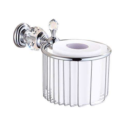 OWOFAN Toilet Paper Holder Bathroom Basket Paper Towel Storage Tissue Shelf Luxury Crystal Wall Mount Brass Chrome Silver, HK-35L ()