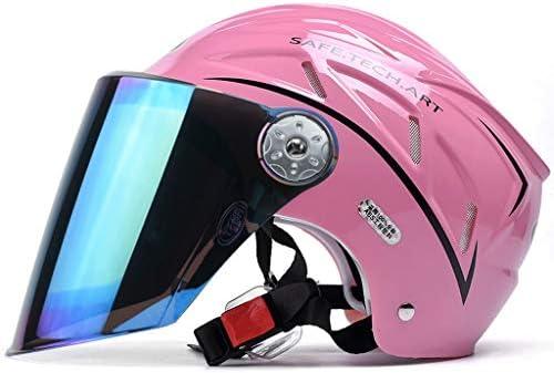 NJ ヘルメット- 多彩な紫外線保護レンズのヘルメットの男女兼用の半分覆われた夏の多色刷り任意 (Color : Pink, Size : 27x19cm)