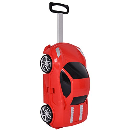 Goplus Kids Suitcase Car Shape w/ 2.4G Radio Remote Control Toddler Trolley Luggage (Red) (Shape Red Car)
