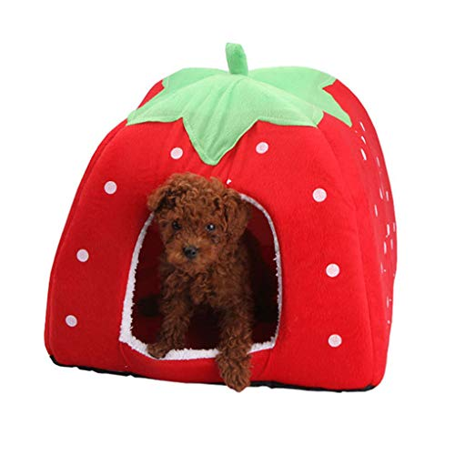 Yaloee Soft Dog House Strawberry Shape Dog Bed Warm Corduroy Cute Cat House Pet Bed for Cat and Small Dogs