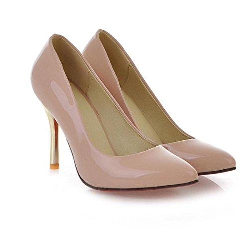 YCMDM Alta - tacco a punta sceglie i pattini Moda Scarpe casual donne a punta in pelle Nuova Primavera Autunno Moda Albicocca Bianco Rosso Nero Verde 34 35 36 37 38 39 , apricot , 39