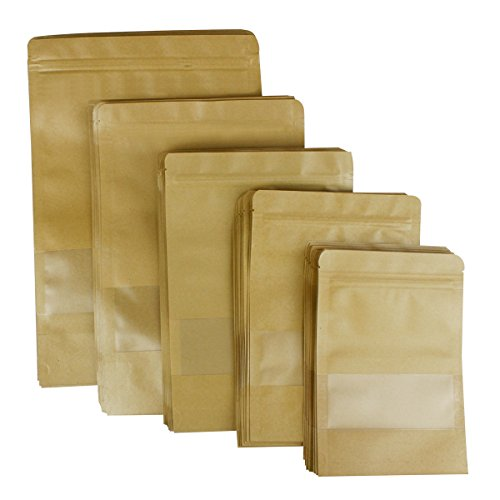 Resealable Food Bags Zip Lock Stand Up Bags 50 Pack Kraft Paper Bags with Transparent Window 5 Different Sizes for Nuts Cookie Popcorn Snack Dried Food Coffee Tea Storage