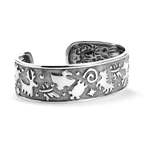 (American West Sterling Silver Animal and Bird Symbols Textured Cuff Bracelet Size Large)