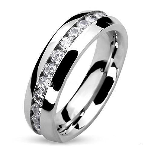4 Mm Wide Ring - Round Cut CZ Stainless Steel Eternity Wedding Ring Band (4-8mm Wide) Width 4mm Size 04 5