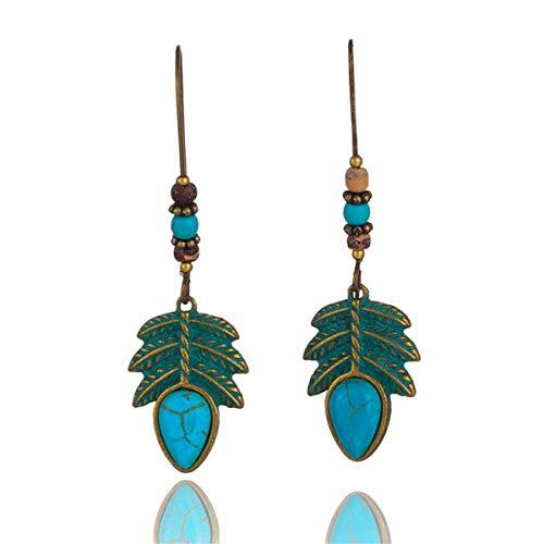 Liliynice NEW Boho Retro Green Leaf Tassel Eardrop Earring Bohemian Ethnic Vintage Alloy Hanging Dangle Drop Earrings Jewelry For Women -