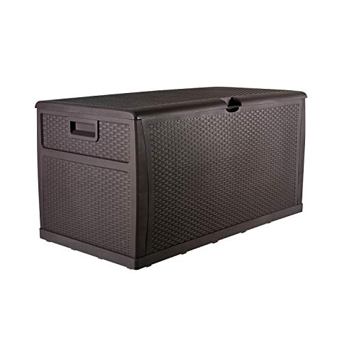 Patio Deck Box Outdoor Storage Plastic Bench Box,120-Gallon