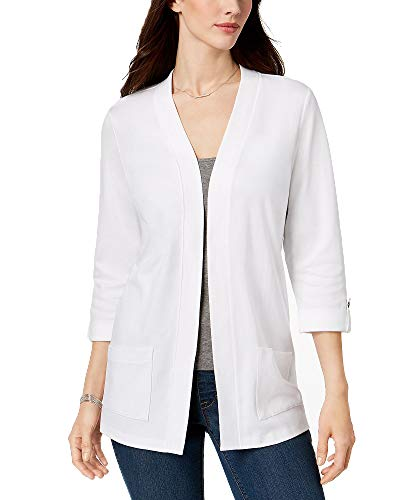 Karen Scott Petite Cotton 3/4-Sleeve Cardigan (Bright White, PS)