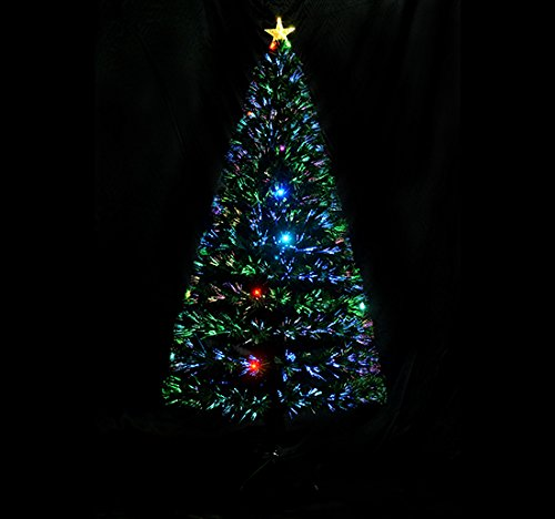 Fiber Optic Trees - 6' Fiber Optic w/ 24 LED Lights Holiday Pre-Lit Artificial Christmas Tree