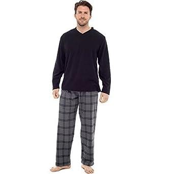 Herren Pyjama Moderne Satz warm karierte Böden Freizeit - Schwarz, Small