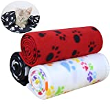 AK KYC 3 Pack Puppy Blanket Cushion Dog Cat Fleece Blankets Pet Sleep Mat Pad Bed Cover with Paw Print Kitten Soft Warm Blanket for Animals (3 X Paw, 40in 28in)