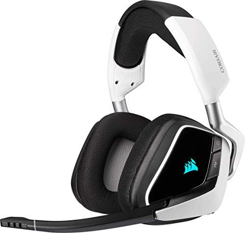 Corsair VOID ELITE RGB Wireless Gaming Headset (7.1 Surround Sound, Low Latency 2.4 GHz Wireless, 40ft Wireless Range, Customisable RGB Lighting, Durable Aluminium with PC, PS4 Compatibility) - White
