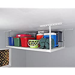 "SafeRacks Factory Second - 4x8 Overhead Storage Rack Heavy Duty (24-45"" Ceiling Drop) - White"