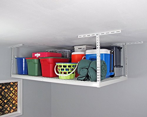SafeRacks - 4x8 Overhead Storage Rack Heavy Duty (24-45'' Ceiling Drop) - White by SafeRacks