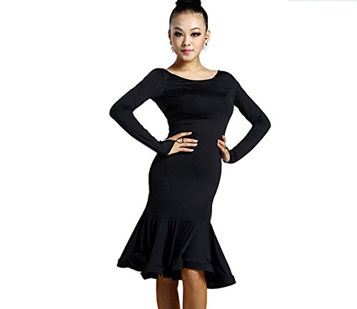 [Motony Women Latin Dance Dress New Style Latin Dance Costume Adult Dance Practice Performance Skirt Black] (Dance Costumes For Adults)