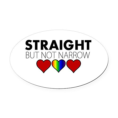 CafePress - Straight but not Narrow Oval Car Magnet - Oval Car Magnet, Euro Oval Magnetic Bumper Sticker